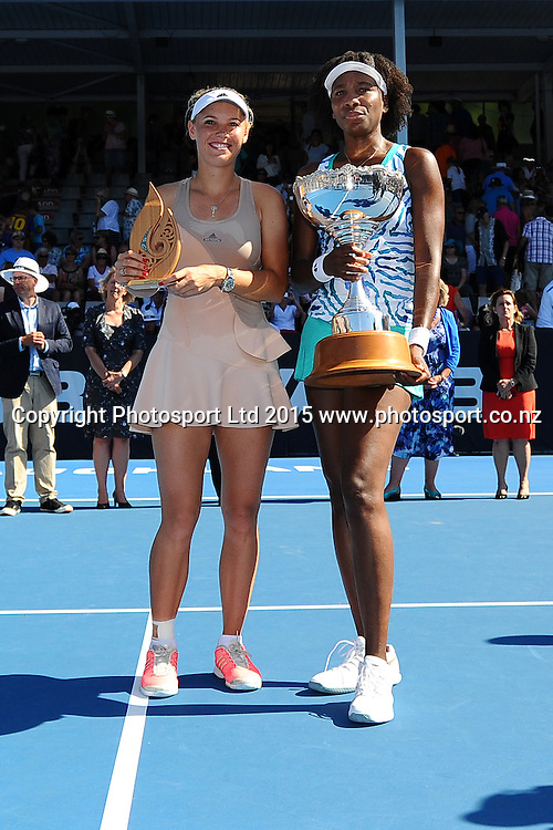 Danish player Caroline Wozniacki and Venus Williams of the USA after their Singles Finals match at the ASB Classic Women's International. ASB Tennis Centre, Auckland, New Zealand. Saturday 10 January 2015. Copyright photo: Chris Symes/www.photosport.co.nz
