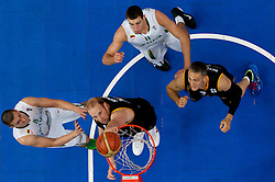 Chris Kaman of Germany and Sven Schultze of Germany vs Paulius Jankunas of Lithuania and Jonas Valanciunas of Lithuania during basketball game between National basketball teams of Lithuania and Germany at FIBA Europe Eurobasket Lithuania 2011, on September 11, 2011, in Siemens Arena,  Vilnius, Lithuania. Lithuania defeaed Germany 84-75. (Photo by Vid Ponikvar / Sportida)
