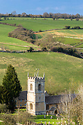 Traditional church in the landscape at Naunton in The Cotswolds, Gloucestershire, UK