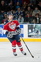 KELOWNA, CANADA - MARCH 23: Josh Thrower #2 of the Tri-City Americans skates against the Kelowna Rockets on March 23, 2014 during game 2 of the first round of WHL Playoffs at Prospera Place in Kelowna, British Columbia, Canada.   (Photo by Marissa Baecker/Getty Images)  *** Local Caption *** Josh Thrower;