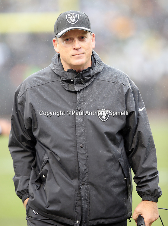 Oakland Raiders head coach Jack Del Rio paces the sideline during the 2015 week 15 regular season NFL football game against the Green Bay Packers on Sunday, Dec. 20, 2015 in Oakland, Calif. The Packers won the game 30-20. (©Paul Anthony Spinelli)