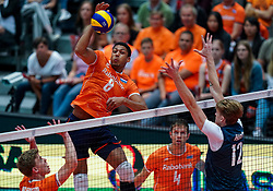 11-08-2019 NED: FIVB Tokyo Volleyball Qualification 2019 / Netherlands - USA, Rotterdam<br /> Final match pool B in hall Ahoy between Netherlands vs. United States (1-3) and Olympic ticket  for USA / Gijs van Solkema #15 of Netherlands, Fabian Plak #8 of Netherlands, Maxwell Holt #12 of USA