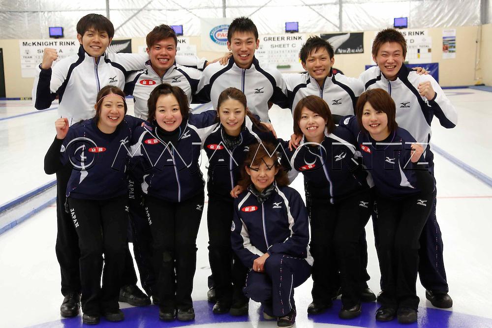 Japan, men's and women's teams, back from left Yusuke MOROZUMI, Tsuyoshi YAMAGUCHI, Tetsuro SHIMIZU, Kosuke  MOROZUMI, Yoshiro SHIMIZU, front from left Emi SHIMIZU, Satsuki FUJISAWA, Miyo ICHIKAWA, coach Hatomi NAGAOKA, Miyuki SATOH, Chiaki MATSUMURA,