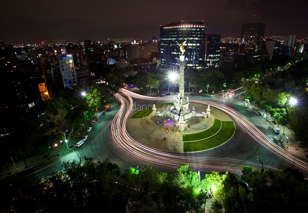 Angel Square at night, Zona Rosa, Mexico City, Mexico