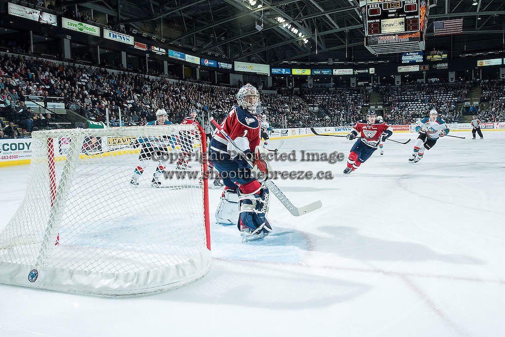 KELOWNA, CANADA - MARCH 27: Eric Comrie #1 of Tri-City Americans defends the net against the Kelowna Rockets on March 27, 2015 at Prospera Place in Kelowna, British Columbia, Canada.  (Photo by Marissa Baecker/Shoot the Breeze)  *** Local Caption *** Eric Comrie;