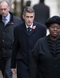 © Licensed to London News Pictures. 12/11/2017. London, UK. Newly appointed Defence Secretary Gavin Williamson walks through Downing Street to attend the Remembrance Sunday Ceremony at the Cenotaph in Whitehall. Photo credit: Peter Macdiarmid/LNP