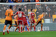 Wolverhampton Wanderers midfielder Dave Edwards celebrates spring opening goal during the Sky Bet Championship match between Wolverhampton Wanderers and Middlesbrough at Molineux, Wolverhampton, England on 24 October 2015. Photo by Alan Franklin.