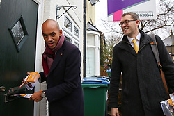 © Licensed to London News Pictures. 25/11/2019. Watford,  Hertfordshire UK. Liberal Democrat Foreign Affairs Spokesman and candidate of Cities of London & Westminster, CHUKA UMUNNA and Liberal Democrat candidate for Watford, IAN STOTESBURY canvassing in Watford. Britons go to the polls on 12 December in a General Election.Photo credit: Dinendra Haria/LNP