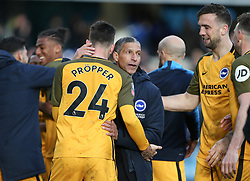 Brighton and Hove Albion manager Chris Hughton celebrates winning on penalties - Mandatory by-line: Arron Gent/JMP - 17/03/2019 - FOOTBALL - The Den - London, England - Millwall v Brighton and Hove Albion - Emirates FA Cup Quarter Final