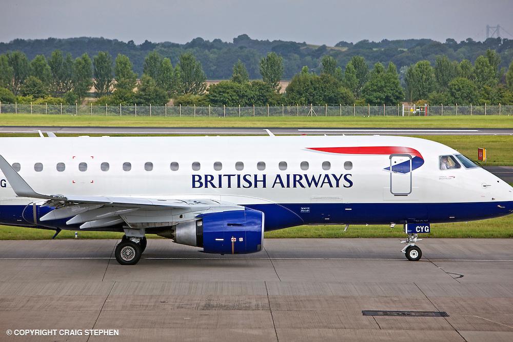 BA Cityflyer G-LCYG Embraer E170 STD at Edinburgh Airport side on