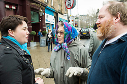 Pictured: Ruth Davidson chatted to two visitors from Kinross who were right behnd her campaign.<br /> <br /> Scottish Conservative leader Ruth Davidson was on the campaign trail in her own constituency of Edinburgh Central today.<br /> <br /> Ger Harley | EEm 3 April 2016