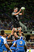 Scott Barrett of the BNZ Crusaders is lifted for a line-out during the Canterbury Crusaders v the Western Force Super Rugby Match. Nib Stadium, Perth, Western Australia, 8th April 2016. Copyright Image: Daniel Carson / www.photosport.nz