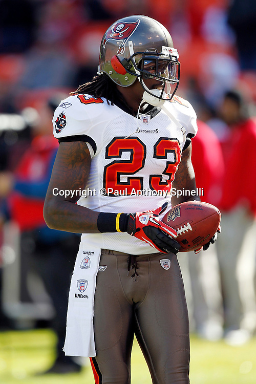 Tampa Bay Buccaneers cornerback Myron Lewis (23) looks on during the NFL week 11 football game against the San Francisco 49ers on Sunday, November 21, 2010 in San Francisco, California. The Bucs won the game 21-0. (©Paul Anthony Spinelli)