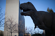 A park with a dinosaur sculpture in front of the Senckenberg  Museum in Frankfurt am Main on a normally very busy Tuesday afternoon in emptiness because of the Corona virus.