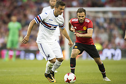 August 2, 2017 - Dublin, Ireland - Karol Linetty of Sampdoria and Juan Mata of Manchester Utd in action during the Pre-Season Friendly match between Manchester United and Sampdoria at Aviva Stadium in Dublin, Ireland on August 2, 2017  (Credit Image: © Andrew Surma/NurPhoto via ZUMA Press)