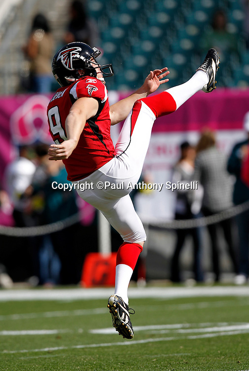Atlanta Falcons punter Michael Koenen (9) punts during pregame warmups during the NFL week 6 football game against the Philadelphia Eagles on Sunday, October 17, 2010 in Philadelphia, Pennsylvania. The Eagles won the game 31-17. (©Paul Anthony Spinelli)