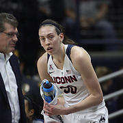 Breanna Stewart, UConn, with Head Coach Geno Auriemma during the UConn Vs SMU Women's College Basketball game at Gampel Pavilion, Storrs, Conn. 24th February 2016. Photo Tim Clayton