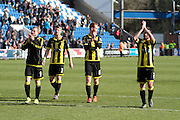 Burton players thanking the fans after their win in the Sky Bet League 1 match between Colchester United and Burton Albion at the Weston Homes Community Stadium, Colchester, England on 23 April 2016. Photo by Nigel Cole.