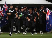 Black Caps captain Daniel Vettori leads his team onto the Caketin pitch.<br /> One-day International Cricket Match. New Zealand v England. Westpac Stadium, Wellington, New Zealand. Saturday 9 January 2008. Photo: Dave Lintott/PHOTOSPORT