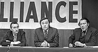 Alliance Party of N Ireland press conference to launch Policy Document on Policing in N Ireland - left to right - Oliver Napier, leader, Bob Cooper, deputy leader, and Lord Dunleath, N Ireland Assembly member - 27th February 1975, 197502270163.<br /> <br /> Copyright Image from Victor Patterson,<br /> 54 Dorchester Park, <br /> Belfast, UK, BT9 <br /> <br /> t1: +44 28 9066 1296 (from Rep of Ireland 048 90661296)<br /> t2: +44 28 9002 2446 (from Rep of Ireland 048 9002 2446)<br /> <br /> m: +44 7802 353836<br /> <br /> e: victorpatterson@me.com<br /> www.victorpatterson.com<br /> <br /> Please see my Terms and Conditions of Use at www.victorpatterson.com. It is IMPORTANT that you familiarise yourself with them.<br /> <br /> Images used on the Internet must be visibly watermarked i.e. © Victor Patterson<br /> within the body of the image and copyright metadata must not be deleted. Images <br /> used on the Internet have a size restriction of 4kbs and will be chargeable at current<br />  NUJ rates unless agreed otherwise.<br /> <br /> This image is only available for the use of the recipient i.e. television station, newspaper, magazine, book publisher, etc, and must not be passed on to any third party. It is also downloaded on condition that each and every usage is notified within 7 days to victorpatterson@me.com<br /> <br /> The right of Victor Patterson to be identified as the author is asserted in accordance with The Copyright Designs And Patents Act (1988). All moral rights are asserted.