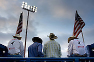 Cowboys wait for the competition to start during the PBR rodeo at the Del Mar Fairgrounds in Del Mar, California on July 26th, 2008.