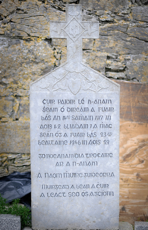 A tombstone written in Irish on Inishmore, the largest of the Aran Islands, Co. Galway, Ireland.