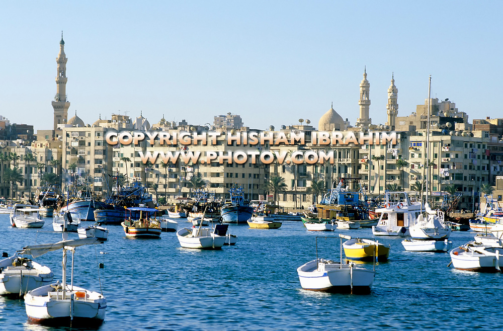 Alexandria Skyline and Eastern Harbor on the mediterranean sea featuring the minarets of the famous Mosque of Abu El Abbas, Alexandria, Egypt.