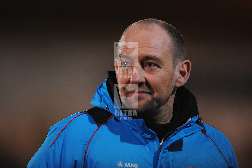 TELFORD COPYRIGHT MIKE SHERIDAN 12/2/2019 - Guiseley joint manager Russ O'Neill during the Vanarama Conference North fixture between AFC Telford United and Guiseley at the New Bucks Head.
