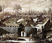 American Civil War: Prison stockade at Andersonville, Georgia. During summer of 1864 32,899 Union (northern) prisoners were confined here. In the National Cemetery at Andersonville 12,912 who did not survive are buried. In left foreground the dead cart is taking away bodies.