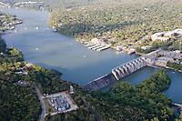 Tom Miller Dam on Colorado River froms Lake Austin.