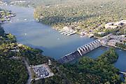 Tom Miller Dam on Colorado River froms Lake Austin.