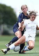 May 12, 2012; Huntsville, AL, USA;  Oak Mountain's Vicki Hill (5) gets tangled up with Auburn's Elizabeth Price (14)Mandatory Credit: Marvin Gentry