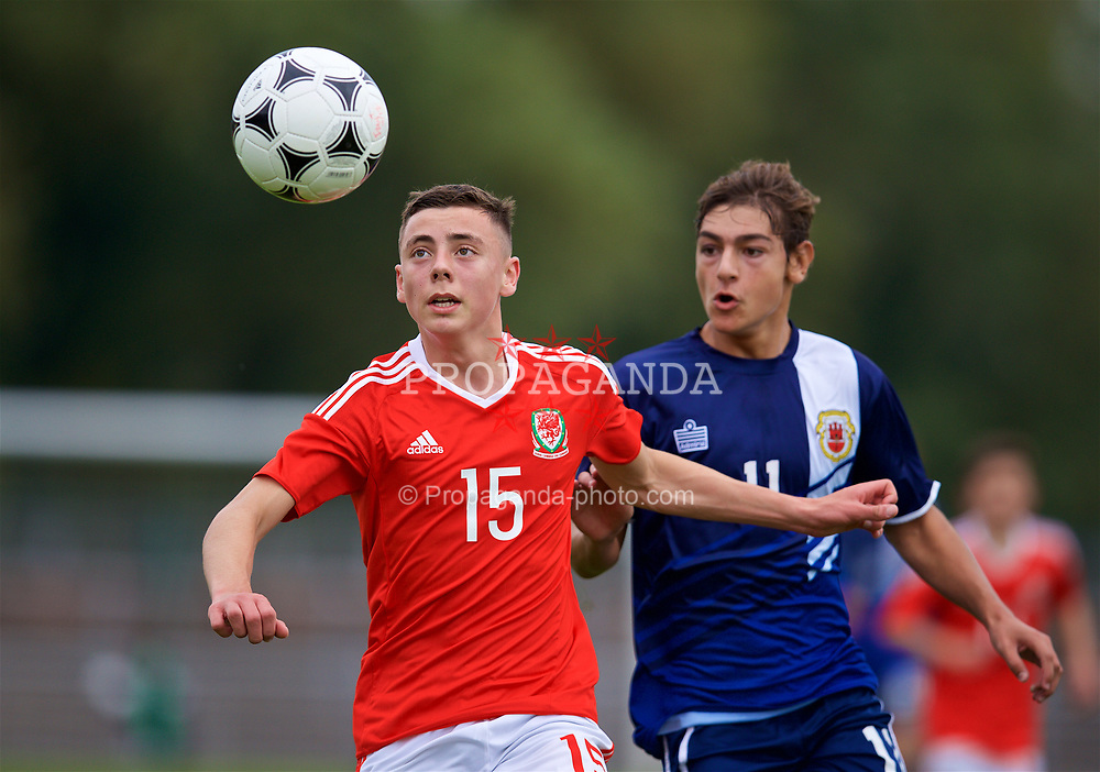 NEWPORT, WALES - Sunday, September 24, 2017: Wales' Callum King-Harmes during an Under-16 International friendly match between Wales and Gibraltar at the Newport Stadium. (Pic by David Rawcliffe/Propaganda)