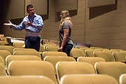 "JULY 8, 2018  LANCASTER, OHIO:<br /> <br /> Director of Theater, A. Victor Jones speaks with an associate in the Wagner Theater during a rehearsal for the production of ""Hello, Dolly!"" at Ohio University Lancaster."