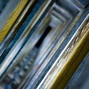 Vertigo inducing view down wooden staircase (Krakow, Poland - Aug. 2008) (Image ID: 080804-1536051a)