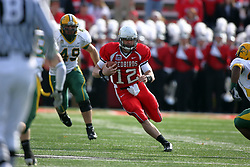 25 October 2008: Kevin Brockway sprints up the middle with Nick Compton in pursuit.  Brockway was injured during the ensuing tackle and was replaced in the game by back up Drew Kiel. The North Dakota Bison defeated the Illinois State Redbirds at Hancock Stadium on campus of Illinois State University in Normal Illinois