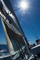 Rigging and Mast of yacht on ocean