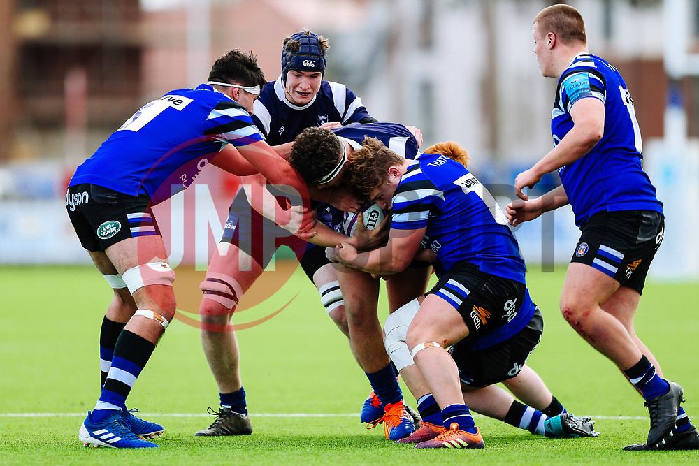 Jalen Curry of Bristol Bears U18 and George Taylor of Bristol Bears U18 - Rogan/JMP - 14/12/2019 - RUGBY UNION - Shaftesbury Park - Bristol, England - Bristol Bears U18 v Bath Rugby U18 - Premiership Rugby U18 Academy League.