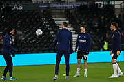 Derby County players during the warm up during the EFL Sky Bet Championship match between Derby County and Sheffield Wednesday at the Pride Park, Derby, England on 11 December 2019.