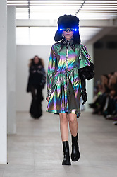 © Licensed to London News Pictures. 14/02/2020. London, UK.  London Fashion Week Autumn Winter 2020 - On Off Presents... Zaful runway show - model on the catwalk.  Photo credit : Richard Isaac/LNP