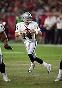Oakland Raiders quarterback Matt McGloin (14) drops back to pass during the 2016 NFL preseason football game against the Arizona Cardinals on Friday, Aug. 12, 2016 in Glendale, Ariz. The Raiders won the game 31-10. (©Paul Anthony Spinelli)