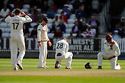 Tom Abell of Somerset crouches in pain after being hit by a shot by Jake Libby of Nottinghamshire during the Specsavers County Champ Div 1 match between Somerset County Cricket Club and Nottinghamshire County Cricket Club at the Cooper Associates County Ground, Taunton, United Kingdom on 22 September 2016. Photo by Graham Hunt.
