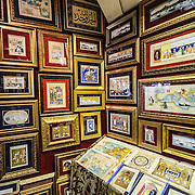 Illuminations and illustrations on display on the walls of the Sahaflar Çars (Antique Book Bazaar) next o the Grand Bazaar in Istanbul, Turkey.