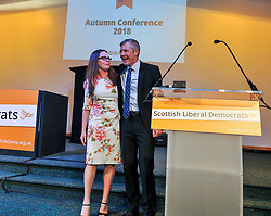 Leader of the Scottish Liberal Democrats Willie Rennie with ex press officer and rising star of the party Natalie Coupar after his keynote speech at the party's autumn conference in Dunfermline.<br /> <br /> &copy; Dave Johnston / EEm