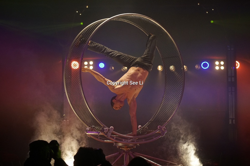 London,England,UK: 14th Nov 2016: David Girard preforms for the Photocall: La Soiree cabaret show at Christmas in Leicester Square, Soho, London,UK. Photo by See Li