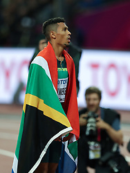 London, August 08 2017 . Wayde van Niekerk, South Africa, after winning the men's 400m final on day five of the IAAF London 2017 world Championships at the London Stadium. © Paul Davey.