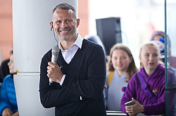 CARDIFF, WALES - Wednesday, May 29, 2019: Wales' manager Ryan Giggs gives a Q&A with youngster on the steps of the Senedd after a press conference at the Wales Millennium Centre during the Urdd National Eisteddfod to announce the squad for the forthcoming UEFA Euro 2020 Qualifying Group E matches for Wales against Croatia and Hungary. (Pic by David Rawcliffe/Propaganda)