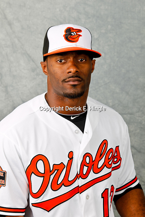 March 1, 2012; Sarasota, FL, USA; Baltimore Orioles right fielder Jai Miller (13) poses for a portrait during photo day at the spring training headquarters.  Mandatory Credit: Derick E. Hingle-US PRESSWIRE