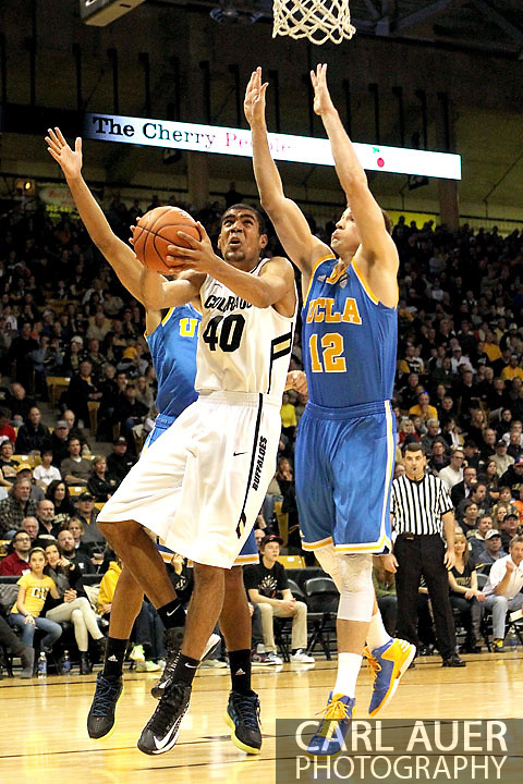 January 12th, 2013: Colorado Buffaloes freshman forward Josh Scott (40) makes a move baseline for a shot in the NCAA basketball game between the UCLA Bruins and the University of Colorado Buffaloes at the Coors Events Center in Boulder CO
