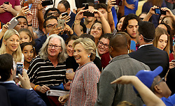 Hillary Clinton poses for photos after her speech at Miami Dade College in Kendall with former Vice President Al Gore. Miami, FL, USA, October 11, 2016. Photo by Mike Stocker/Sun-Sentinel/TNS/ABACAPRESS.COM